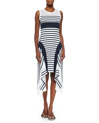 Jean Paul Gaultier Sport Stripe Handkerchief Hem Tank Dress Women's Navy White