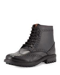 Ben Sherman Dunham Leather Wing Tip Boot Black