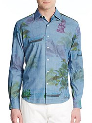 Culturata Tailored Fit Tropical Print Cotton Shirt Multi
