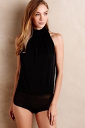 Anthropologie Mesh Mockneck Bodysuit Black