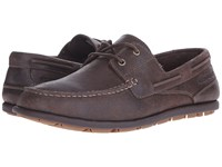 Rockport Bennett Lane 3 Boat Dark Bitter Chocolate Men's Slip On Dress Shoes Gray