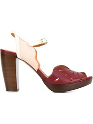 Chie Mihara Laser Cut Buckled Sandals Red