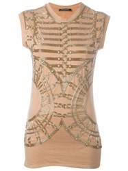 Balmain Embellished Tank Top Nude And Neutrals