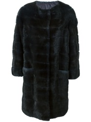 Liska Mink Fur Padded Coat Blue