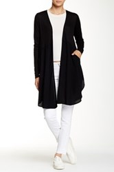 Hip Knit And Woven Open Cardigan Black