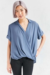 Silence And Noise Silence Noise High Low Surplice Tee Blouse Blue