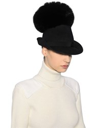 Moncler Gamme Rouge Fox Fur Pompom And Felted Wool Hat
