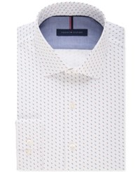 Tommy Hilfiger Men's Slim Fit Non Iron Red And Blue Dot Pattern Dress Shirt