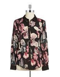 Ivanka Trump Printed Button Front Blouse Black Pink