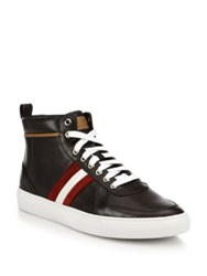 Bally Perforated Leather High Top Sneakers Safari