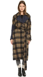 3.1 Phillip Lim Oversized Flannel Trench Camel Black