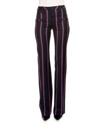 Altuzarra Striped Wool Blend Boot Cut Pants Navy Red