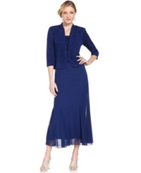 Alex Evenings Petite Sleeveless Glitter Gown And Jacket Electric Blue