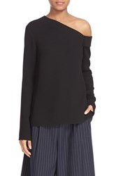 Tibi Women's Asymmetrical Neck Crepe Top Black