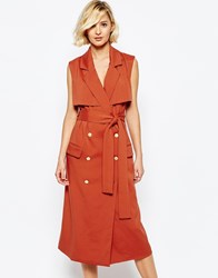 Lavish Alice Sleeveless Trench Coat With Gold Buttons Teracotta