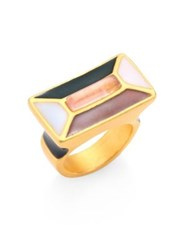 Paula Mendoza Pink Quartz And Enamel Hexagon Ring Gold Multi