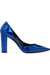 Mcq By Alexander Mcqueen Iridescent Leather Pumps Bright Blue
