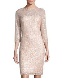 Kay J's By Kay Unger Sequined Lace Overlay Sheath Dress Pink