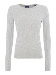 Gant Stretch Wool Cable Crew Neck Jumper Light Grey