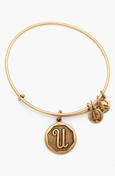Women's Alex And Ani 'Initial' Adjustable Wire Bangle U Russian Gold