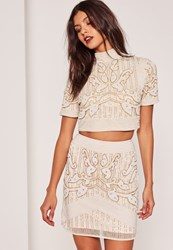 Missguided Beaded High Neck Crop Top Nude