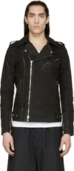 Balmain Black Coated Denim Biker Jacket