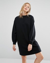 Native Youth Minimal Cocoon Sweat Dress Black