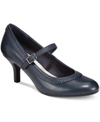 Easy Street Shoes Cecilia Mary Jane Pumps Women's Navy