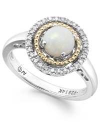 Macy's Opal 1 2 Ct. T.W. And Diamond Accent Ring In Sterling Silver And 14K Gold