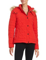 Marc New York Faux Fur Trimed Down Puffer Coat Red