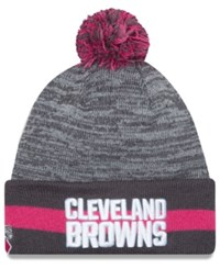 New Era Cleveland Browns Breast Cancer Awareness Sport Knit Hat Gray Pink