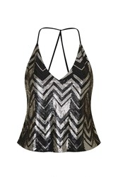 Fade Into You Silver And Black Zig Zag Sequin Top By Goldie