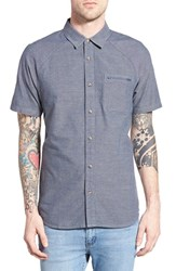 Men's Vans 'Aptos' Trim Fit Short Sleeve Oxford Shirt Dress Blue