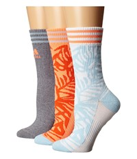 Adidas Adipalm 3 Pack Crew White Ice Blue Sun Glow Grey Clear Onix Marl Women's Crew Cut Socks Shoes Multi
