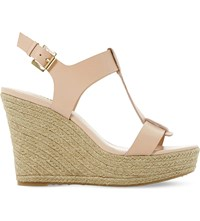 Dune Kelby Espadrille Wedge Sandals Nude Leather