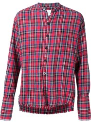 Greg Lauren Plaid 'Scotch' Flannel Studio Button Down Shirt Red