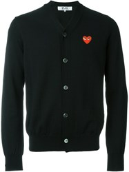 Comme Des Gara Ons Play Embroidered Logo Cardigan Black