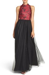 Aidan Mattox Women's By Floral Jacquard Gown Red Multi