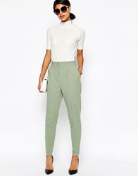 Asos Tailored High Waisted Trousers With Turn Up Detail Sage Green