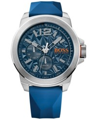 Hugo Boss Men's New York Blue Silicone Strap Watch 50Mm 1513348