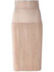 Givenchy Pleated Mid Length Skirt Nude And Neutrals
