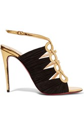 Christian Louboutin Tina 100 Metallic Leather And Suede Sandals Gold