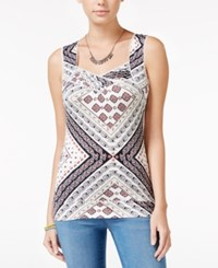 American Rag Printed Cutout Tank Top Only At Macy's Black Combo