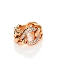 Roberto Coin Gourmette Diamond And 18K Rose Gold Chain Ring