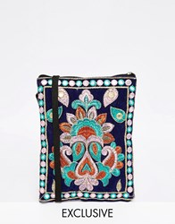 Reclaimed Vintage Embroidered Mini Cross Body Bag Blue