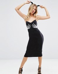 Asos Halloween Skeleton Hands Midi Dress Black