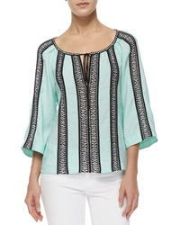 Nanette Lepore 3 4 Sleeve Woven Striped Peasant Top