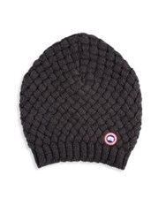 Canada Goose Basket Weave Slouchy Beanie Hat Red Black