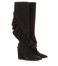 J.W.Anderson Ruffled Suede Knee High Wedge Boots Black