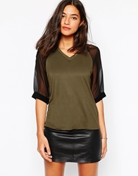 Karen Millen T Shirt In Boxy Fit With Contrast Sleeves Khaki